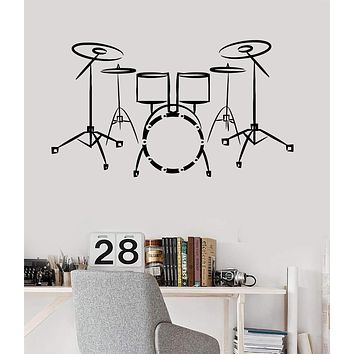 Vinyl Wall Decal Drums Music Musical Instrument Pop Rock Art Stickers Unique Gift (ig3237)
