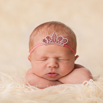 Newborn Tiara, Newborn Crown, Tiara Headband, Crown Headband, Baby Headband, Pink Newborn Tiara, Pink Newborn Crown, Newborn Photo Prop