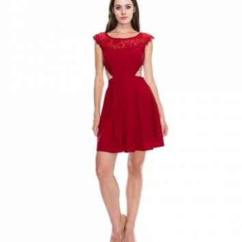 Preorder - Red Cap Sleeve Cut Out Short Dress For Homecoming 2017