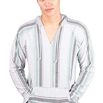 White Mexican Poncho - Baja Hoodie Jacket Sweater - Joe
