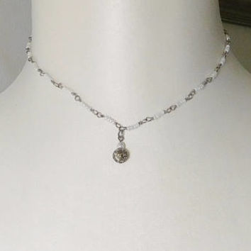 Small White Beaded Choker Necklace Hippie Jewelry Handmade Turned Wire Chain Silver Round Bead Pendant Bead 16 Inches Victorian Boho