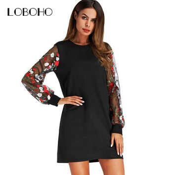 Flowers Embroidery Dress Lantern Long Sleeve 2018 New Arrival Casual Dress Black O Neck Patchwork Mesh Floral Women Dresses