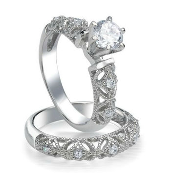 Sterling Silver Wedding Ring Set CZ Engagement Ring and Band Bridal Solitaire size 5-10