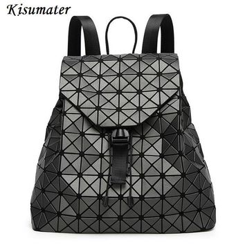 Kisumater 2017 New women backpack Geometric lattic school bag matt color baobao backpack famous logo bag Free Shipping