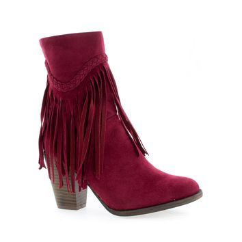 Heather38 Red Gunmetal By Breckelle's, Western Round Toe Stacked Heel Fringe Ankle Boots
