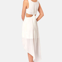 Back's Treat Bows Ivory High-Low Dress