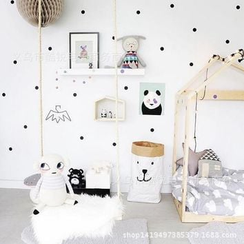 Black Gold Pink Polka Dots Star Wall Sticker Baby Nursery Stickers Kids Children Room Wall Decals Home Decor DIY Vinyl Wall Art