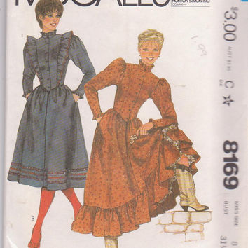 Vintage 1980s pattern for western praire steampunk square dance dress with optional ruffles misses size 8 McCall's 8169 UNCUT