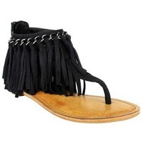 Not Rated Keep the Peace Fringe Sandals in Black NRSA0065-001