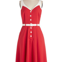 Nautical Long Sleeveless A-line Sense of Tasteful Dress in Rouge