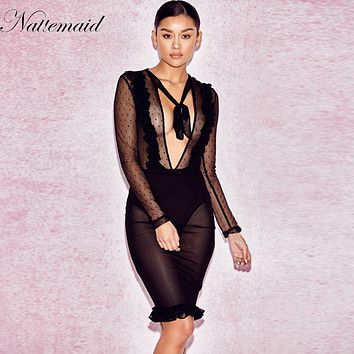 NATTEMAID Commemorative Bell Sleeve Dress femininos Crochet Floral Lace embroidery dresses Boho People Style Women Black
