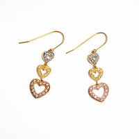 Three Tier Heart Dangle Earrings // Yellow Gold Plated Sterling Silver Heart Drop Earrings with Imitation Colored Diamonds, Gift for Her