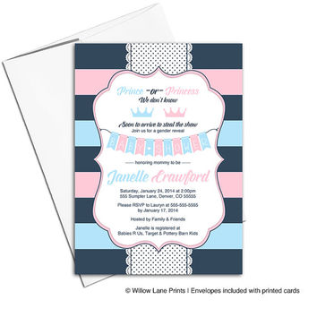 Printable gender reveal invitations - gender reveal party - gender reveal invite - pink and blue invitation - prince or princess - WLP00785
