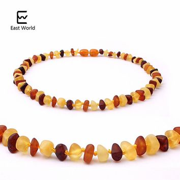 EAST WORLD Raw Amber Necklace for Children Multicolor Baby Jewelry Certificate Baltic Natural Amber Beads Collar True Best Gifts