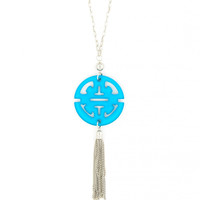 Travel Tassel Long Necklace in Silver