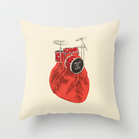 Beat of Life Throw Pillow by Ilovedoodle
