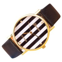jeansian Geneva Vertical Stripes PU Leather Womens Quartz Wrist Watches ZWF017