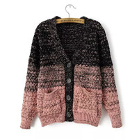 Winter Korean V-neck Long Sleeve Sweater Gradient With Pocket Jacket [8216401601]