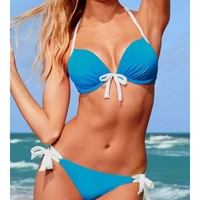 Blue Blends Ladies Sexy Halter Beach New Style Bowknot Hot Girl Sexy Bikini S/M/L SY40468-49bl $0.00 in eFexcity.