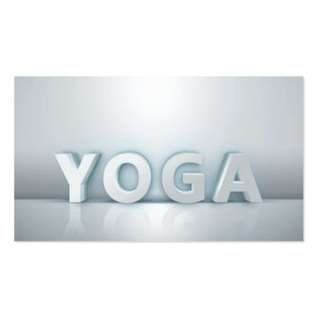 Yoga Instructor Modern Minimalist White 3D Text Business Card