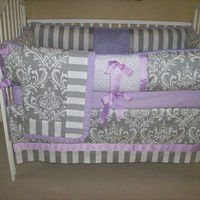 Lavender and Grey Baby Bedding, 4 piece set