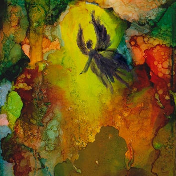 Original Painting, hand painted ACEO alcohol Ink & mixed media artwork fantasy Abstract light fairy miniature artist trading card