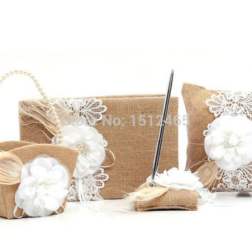 Set of 4 pcs Burlap Hessian Lace Flower Vintage Rustic Wedding Guest Book Pen Holder Ring Pillow Flower Girl Basket