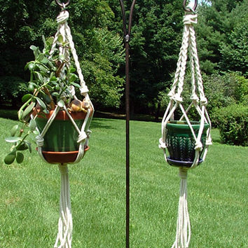 Indoor/ Outdoor Plant Hanger - Handmade Macrame Plant Hanger - Hanging Plant Holder - Gift for Gardener - Rope Plant Hanger - Garden Decor