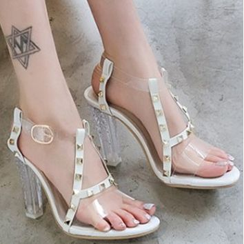 New open-toe strap-on crystal heel sandals shoes