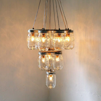 3 tier Mason Jar Chandelier - Mason Jar Lighting - Upside Down Wedding Cake - Handcrafted Upcycled BootsNGus Hanging Pendant Light Fixture