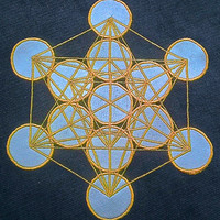 Custom Sacred Geometry Patch Metatron's Cube in silk handmade applique