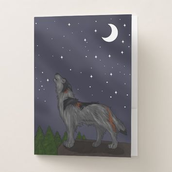 Howling Wolf (Gray) Pocket Folder