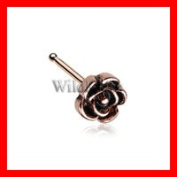 Vintage Rose Gold Icon Nose Stud Ring 316L Surgical Steel Tiny Nose Stud Nose Ring Piercing Jewelry Cute Flower