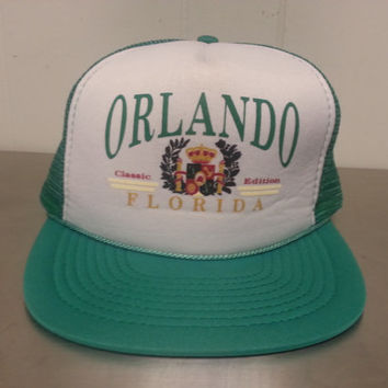 Vintage 90's Orlando Florida Classic Edition Green Mesh Trucker Snapback Dad Hat Made By Mohrs Tourist Cap