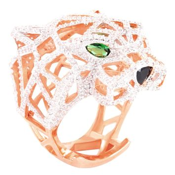 14k Rose Gold Finish Green Ruby Custom Panther Ring