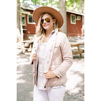 Fleece Lined Quilted Jacket, Blush