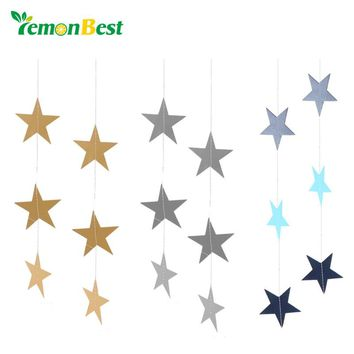 LemonBest Wall Hanging Paper Star Garlands 4m Long Birthday String Chain Wedding Party Banner Handmade Children Room Home Decor