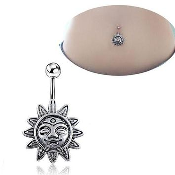 ac DCCKO2Q Sunflower Smile Face Belly Button Navel Bar Ring Barbell Body Piercing Jewelry