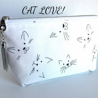 Small Cosmetic Bag,Cat Makeup Bag,Cat Cosmetic Bag,Small Makeup Bag,White Makeup Bag,Small Zipper Pouch,Cat Zipper Pouch,Purse Pouch