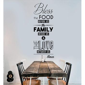 Vinyl Wall Decal Bless the Food Prayer Dining Room Kitchen Stickers Murals Unique Gift (ig4687)
