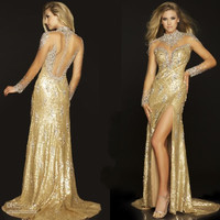 2016 Fall New Collection Sexy High Collar Beaded Tulle See Through Gold Sequins Ruffled Pageant Dresses Long Sleeve Evening Gown