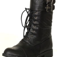 DESIGNER Women's Ankle-High Riding Motorcycle Harness Urban BLACK Combat Boots