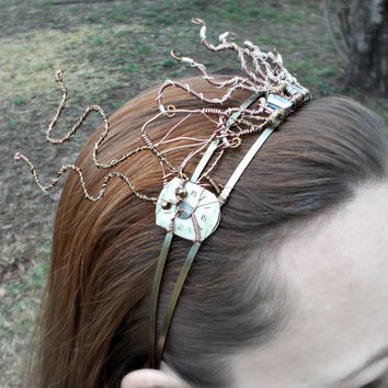 Steampunk Octopus Wire Wrap Headband Tiara