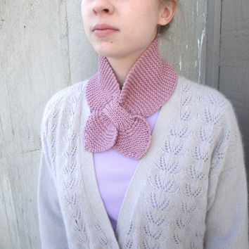 Rose Pink Ascot Scarf, Hand Knit in Silk & Cashmere, Luxury Scarflette, Office Neck Warmer
