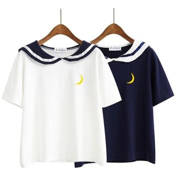 Women Harajuku Letter T Shirt Sailor Collar Kawaii Embroidery Tee Tops Female Summer Short Sleeve Loose T-shirt 2T893