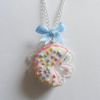 Scented or Unscented  Rainbow Cake Miniature Food Necklace Pendant - Miniature Food Jewelry