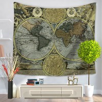 Polyester Wall Hanging World Map Tapestry Indian Mandala Throw Blanket Mat Bedspread Home Dorm Living Room Decoration 2 Sizes