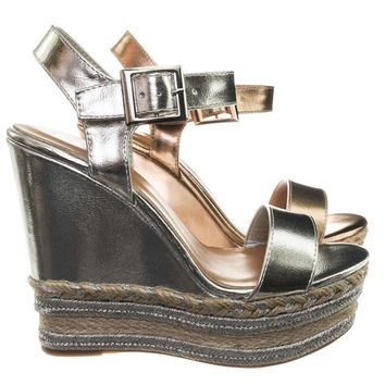 Choice26 Espadrille Jute Wrap Metallic Woven Braid Platform Wedge Sandal