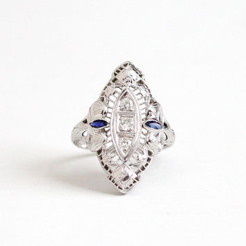 Antique 18K White Gold Filigree Diamond & Created Sapphire Ring - Size 5 1/2 Vintage Art Deco 1920s Shield Flower and Bow Fine Jewelry