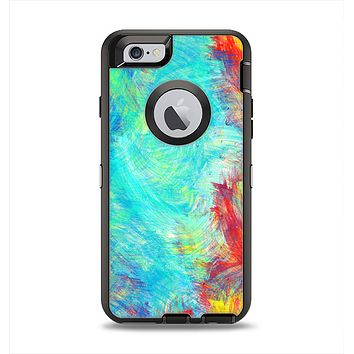 The Vibrant Colored Messy Painted Canvas Apple iPhone 6 Otterbox Defender Case Skin Set